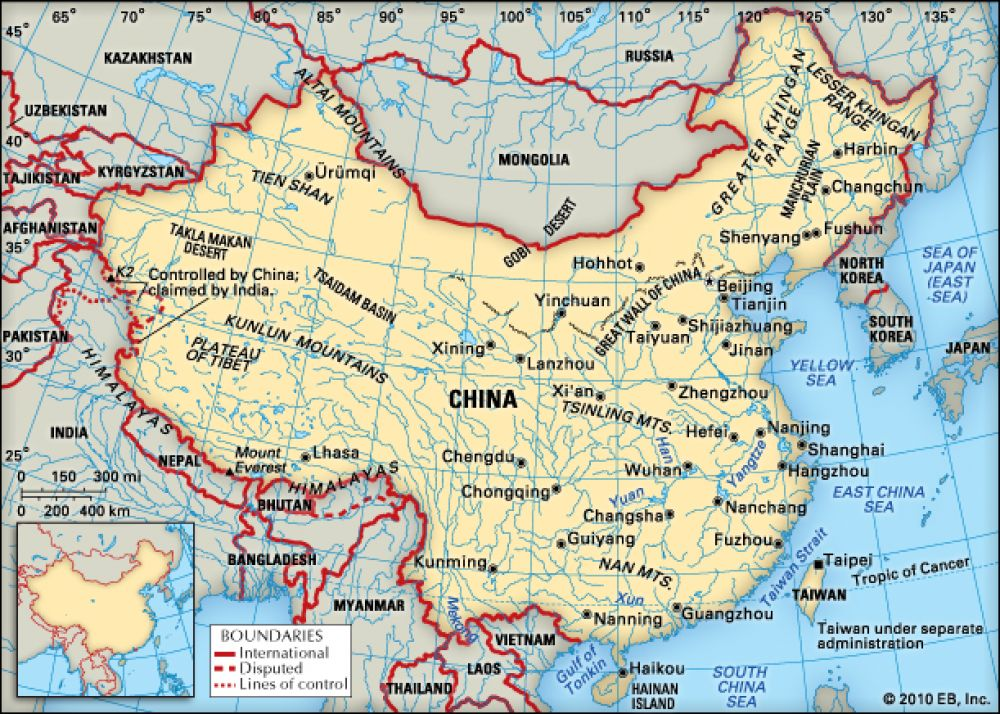 China (9.7 million km2)