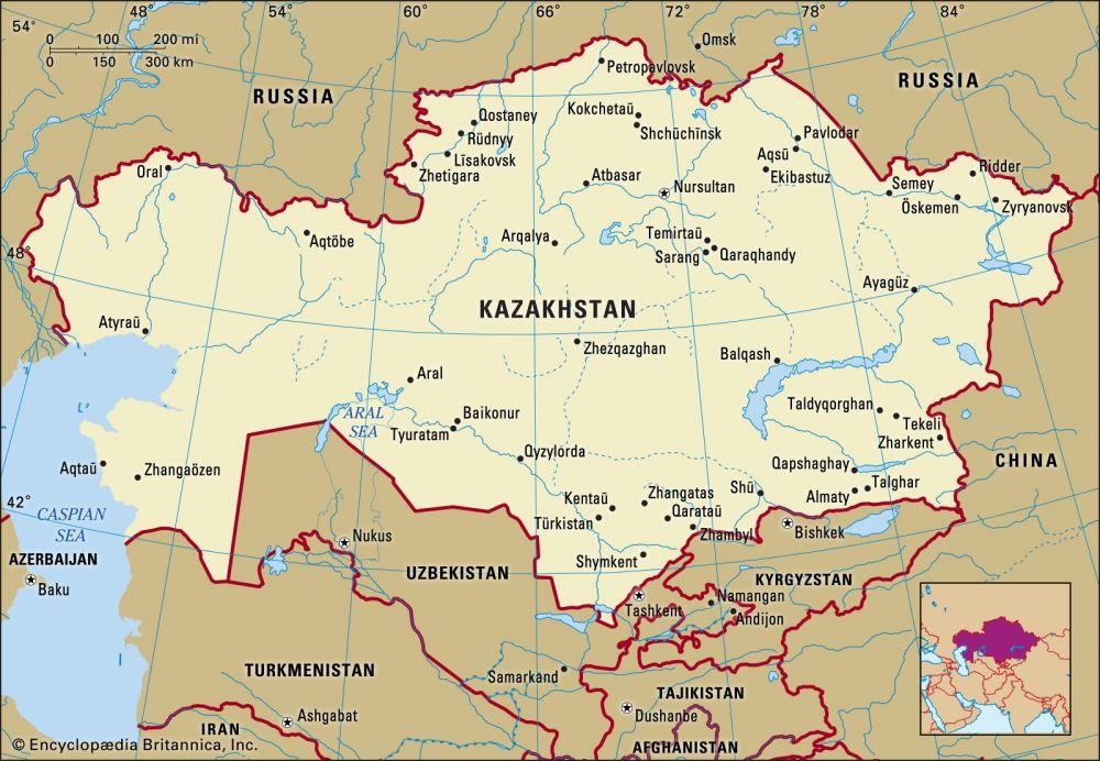 Kazakhstan (2.7 million km2)