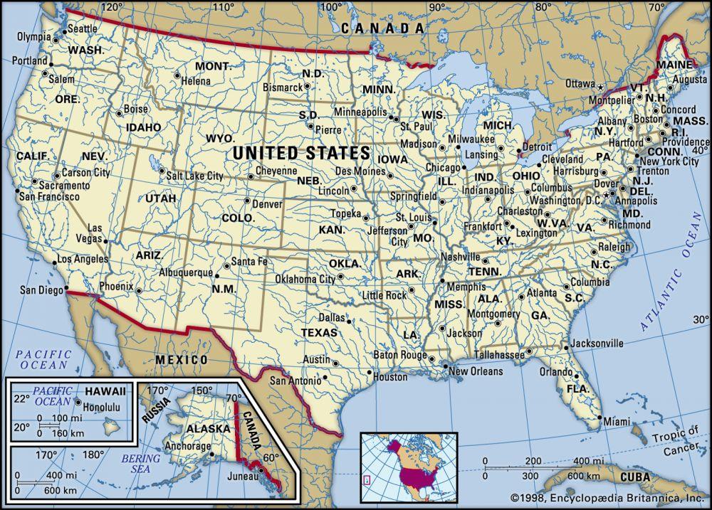 The United States of America (9.3 million km2)